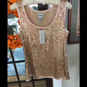 Chicos Rose gold sequin tank. NWT. Chicos Sz 1.